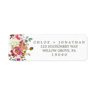 Simple Floral Watercolor Bouquet Wedding Label at Zazzle