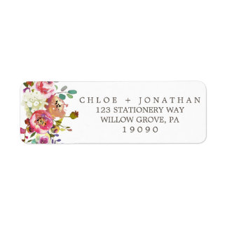Simple Floral Watercolor Bouquet Wedding Label