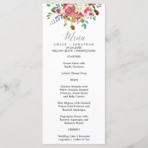 Simple Floral Watercolor Bouquet Wedding Menu Card