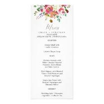 Simple Floral Watercolor Bouquet Wedding Menu Card