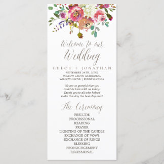 Simple Floral Watercolor Bouquet Wedding Program
