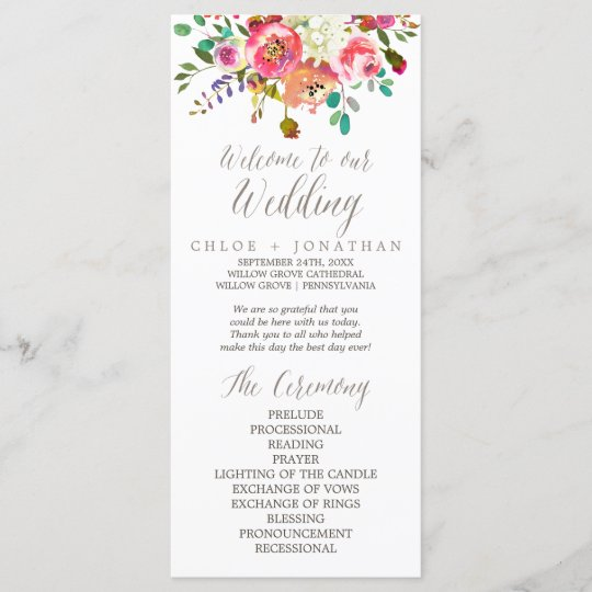 simple floral watercolor bouquet wedding program zazzle com