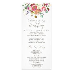 Simple Floral Watercolor Bouquet Wedding Program