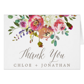Simple Floral Watercolor Bouquet Wedding Thank You Card