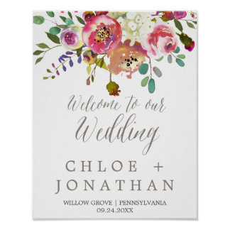 Simple Floral Watercolor Bouquet Wedding Welcome Poster