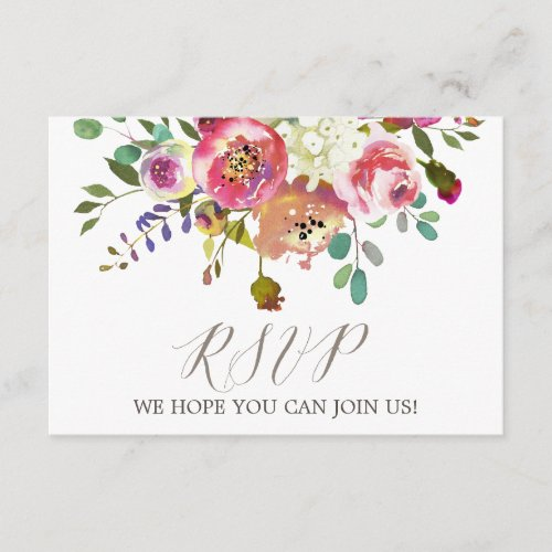 Simple Floral Watercolor Song Request RSVP Card
