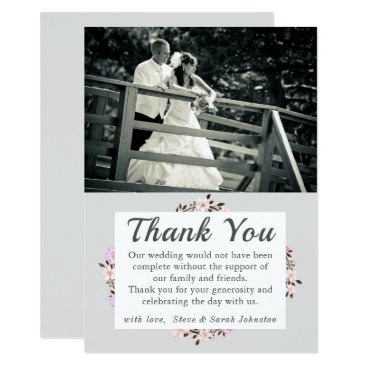 Wedding Themed Simple Floral Wedding Photo Thank You Cards