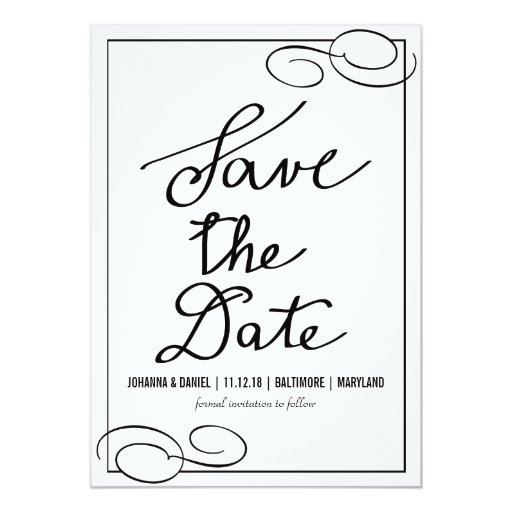 Simple flourish calligraphy wedding save the date card