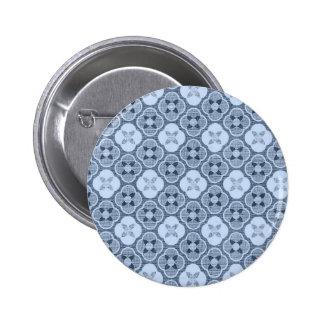 Simple Flower Pattern, in Light Blue 2 Inch Round Button