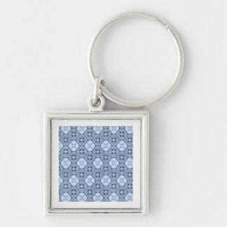Simple Flower Pattern, in Light Blue Keychain