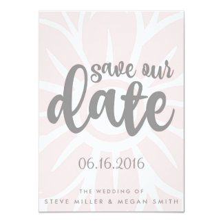 Simple Flower Pink Wedding Save the Dates Card