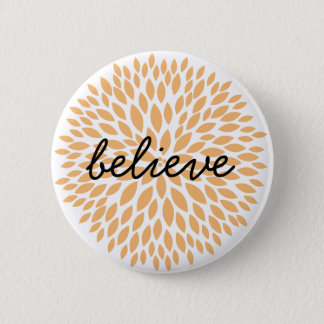 Simple Flowers Believe Pinback Button