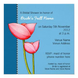 Simple Flowers blue 1 Bridal Shower Invitation