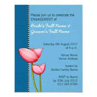 Simple Flowers blue 1 Engagement Invitation
