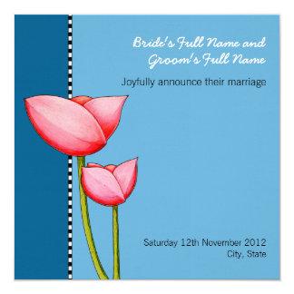 Simple Flowers blue 1 Wedding Announcement