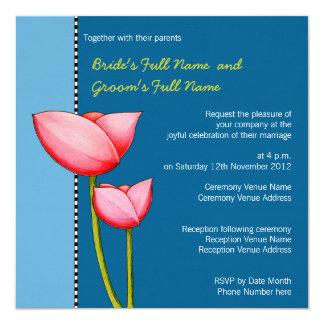 Simple Flowers blue 1 Wedding Invitation