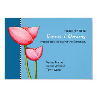Simple Flowers blue 1 Wedding Reception Card