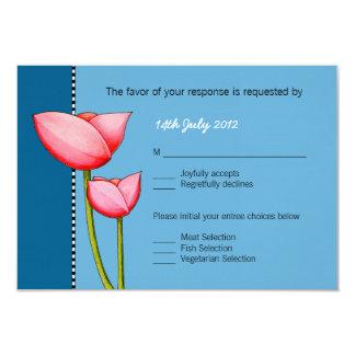 SImple Flowers blue 1 Wedding RSVP Card