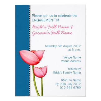 Simple Flowers blue 2 Engagement Invitation