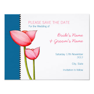 Simple Flowers blue 2 Save the Date Announcement