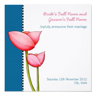 Simple Flowers blue 2 Wedding Announcement