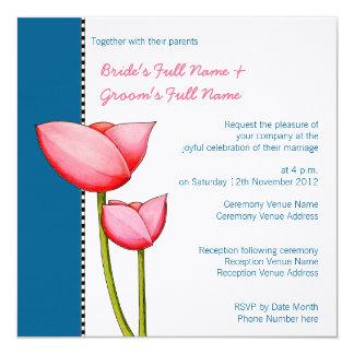 Simple Flowers blue 2 Wedding Invitation