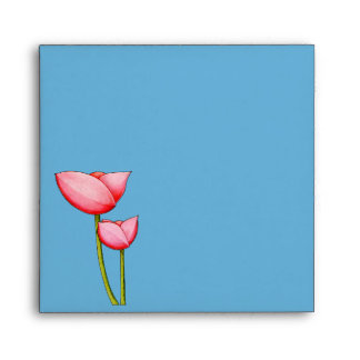 Simple Flowers blue Invitation Envelope