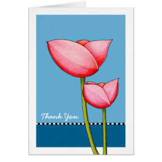 Simple Flowers blue Thank You Card