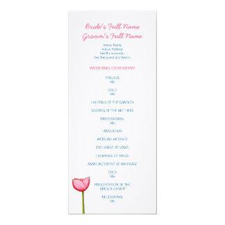 Simple flowers blue Wedding Program 4x9.25 Paper Invitation Card