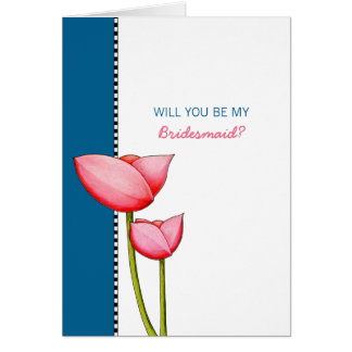 Simple Flowers blue Will You Be My Bridesmaid Card