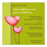 "Simple Flowers green 1 Wedding Invitation 5.25"" Square Invitation Card"