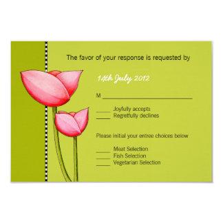 SImple Flowers green 1 Wedding RSVP Card