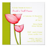 Simple Flowers green 2 Bridal Shower Invitation