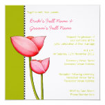 "Simple Flowers green 2 Wedding Invitation 5.25"" Square Invitation Card"