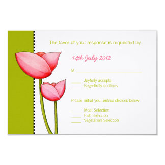 Simple Flowers green 2 Wedding RSVP Card