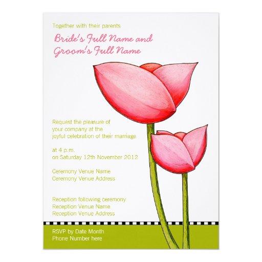"Simple Flowers green 3 Wedding Invitation 6.5"" X 8.75"" Invitation Card"