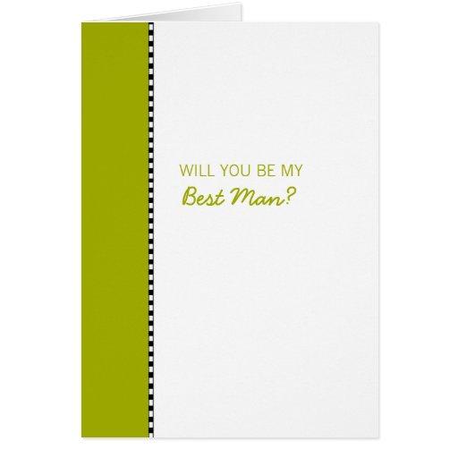 Simple Flowers green Be My Best Man Card