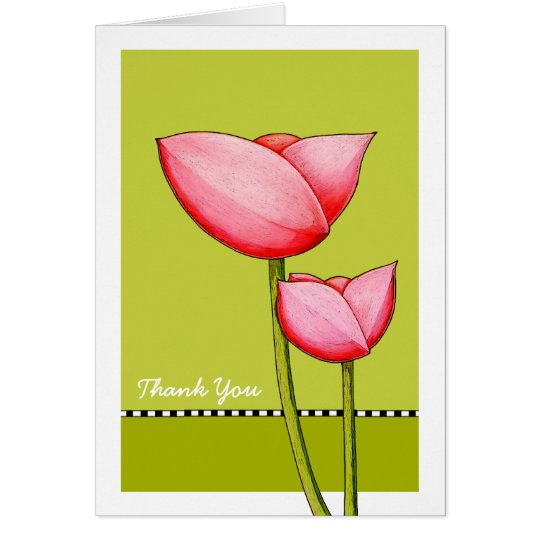 Simple Flowers green Thank You Card