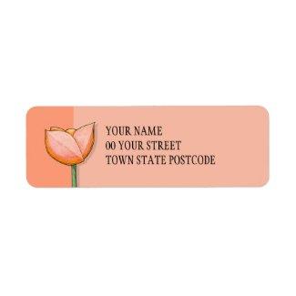 Simple Flowers orange Return Address Label label