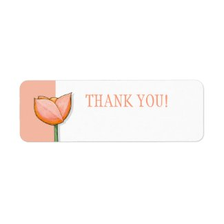 Simple Flowers orange Small Thank You Tag label