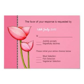 SImple Flowers pink 1 Wedding RSVP Card