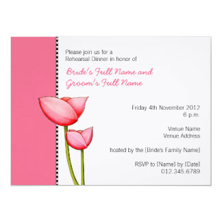 Simple Flowers pink 2 Rehearsal Dinner Invitation