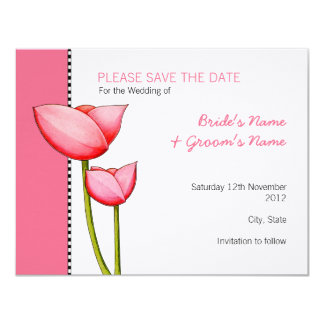 Simple Flowers pink 2 Save the Date Card
