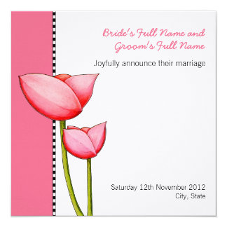 Simple Flowers pink 2 Wedding Announcement