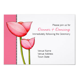 Simple Flowers pink 2 Wedding Reception Card