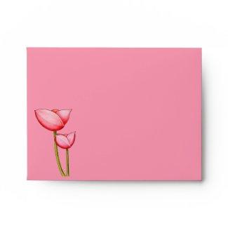 Simple Flowers pink A2 Envelope envelope