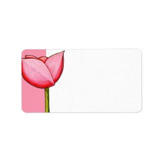 Simple Flowers pink Address Label label