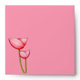 Simple Flowers pink Invitation Envelope envelope