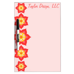 Simple Flowers Pink & Red Dry-Erase Board