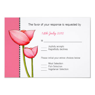 SImple Flowers pink Wedding RSVP Card
